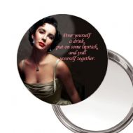 Elizabeth Taylor Pour yoursef a drink... unique Compact Makeup Button Mirror. Delivered in a Black Organza Bag.